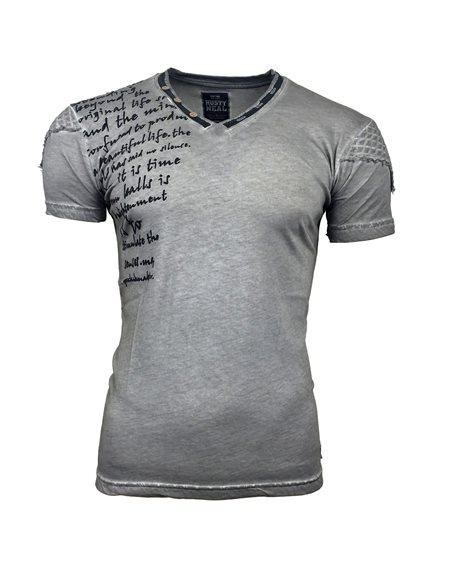 Subliminal Mode - Tee shirt homme col V boutonné délavé SB6779