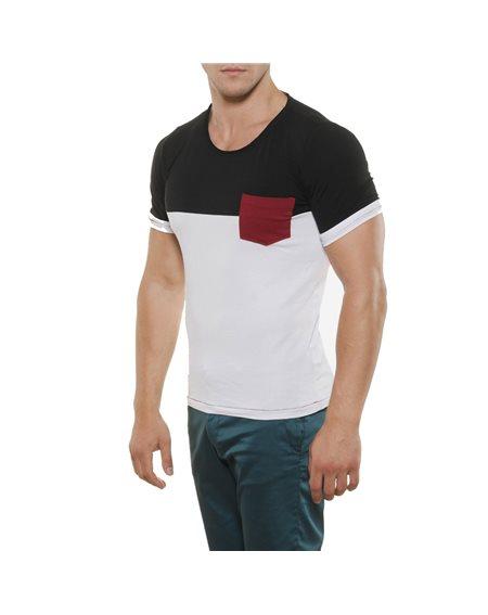 Subliminal Mode - Tee shirt homme uni bicolore col rond KD2486