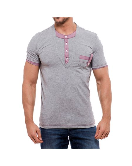 Subliminal Mode - Tee shirt homme uni col Tunisient en V KD5021