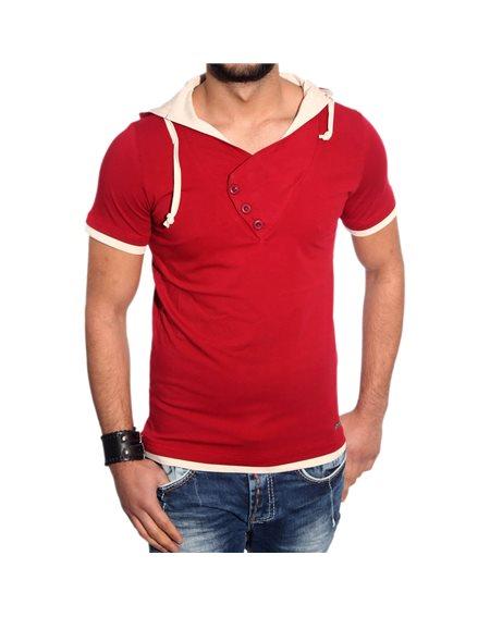 Subliminal Mode - Tee shirt homme uni col à capuche KD2493