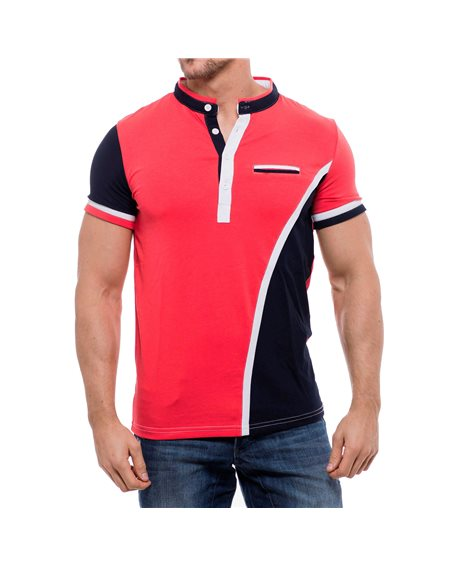 Subliminal Mode - Tee shirt homme uni col mao KD2505