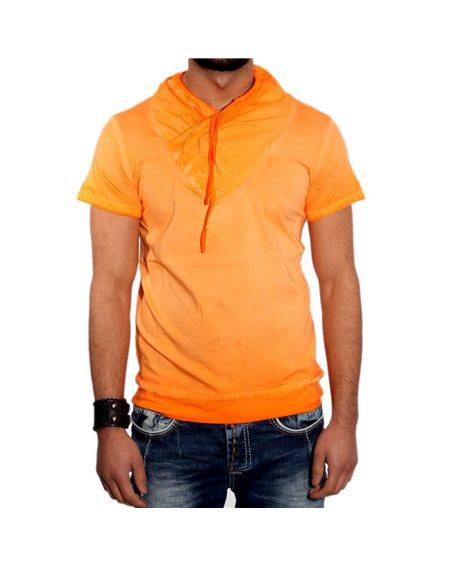 Subliminal Mode - Tee shirt homme uni delaver col chale KD2492
