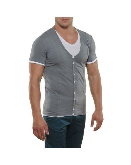 Subliminal Mode - Tee shirt homme uni bicolore col V KD2479
