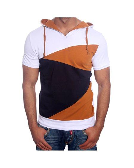 Subliminal Mode - Tee shirt homme multicolore col a capuche KD2498