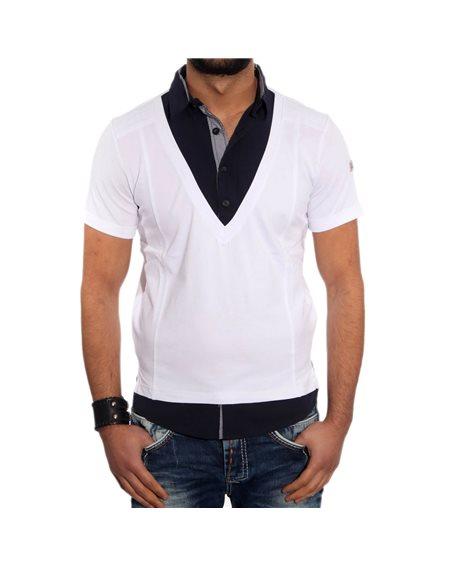 Subliminal Mode - Tee shirt homme uni col V boutonner KD5032