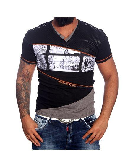 Subliminal Mode - Tee shirt homme col V boutonner imprimer SB1212