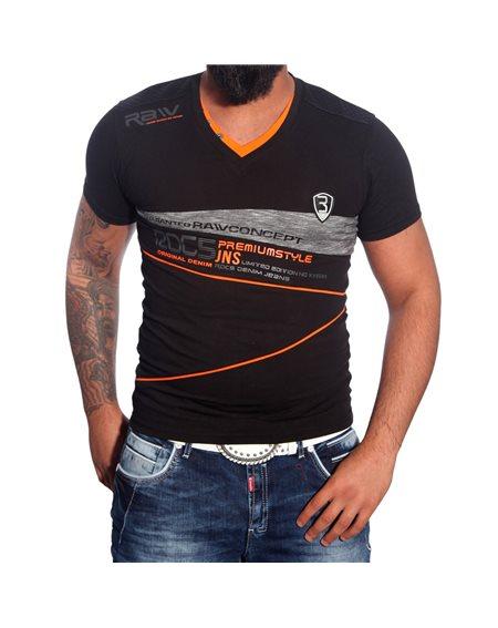 Subliminal Mode - Tee shirt homme col V boutonner imprimer SB1209