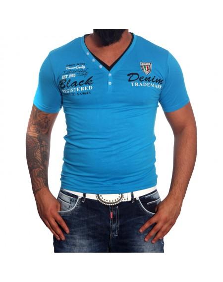 Subliminal Mode - Tee shirt homme col V boutonner imprimer SB915