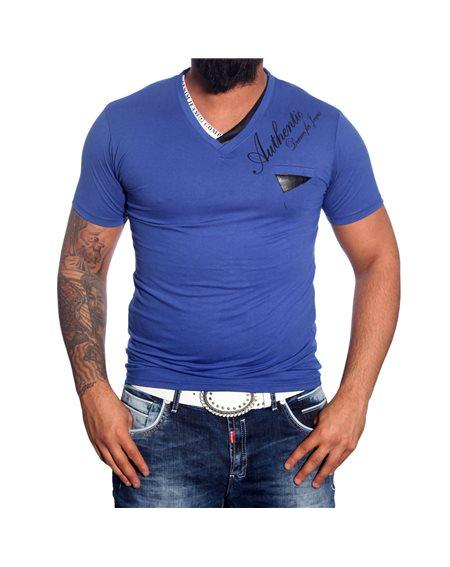 Subliminal Mode - Tee shirt homme col V boutonner imprimer SB917