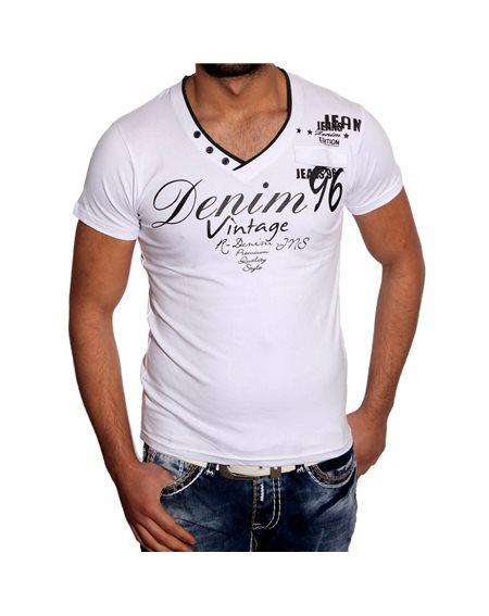Subliminal Mode - Tee shirt homme col V boutonner imprimer SB407