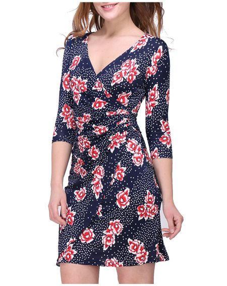Revdelle - Robe cache coeur col V Made in France manches 3/4  Femme MYRIAM