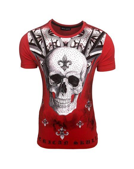 Subliminal Mode - Tee shirt homme tete de mort avec strasse col rond JA2310