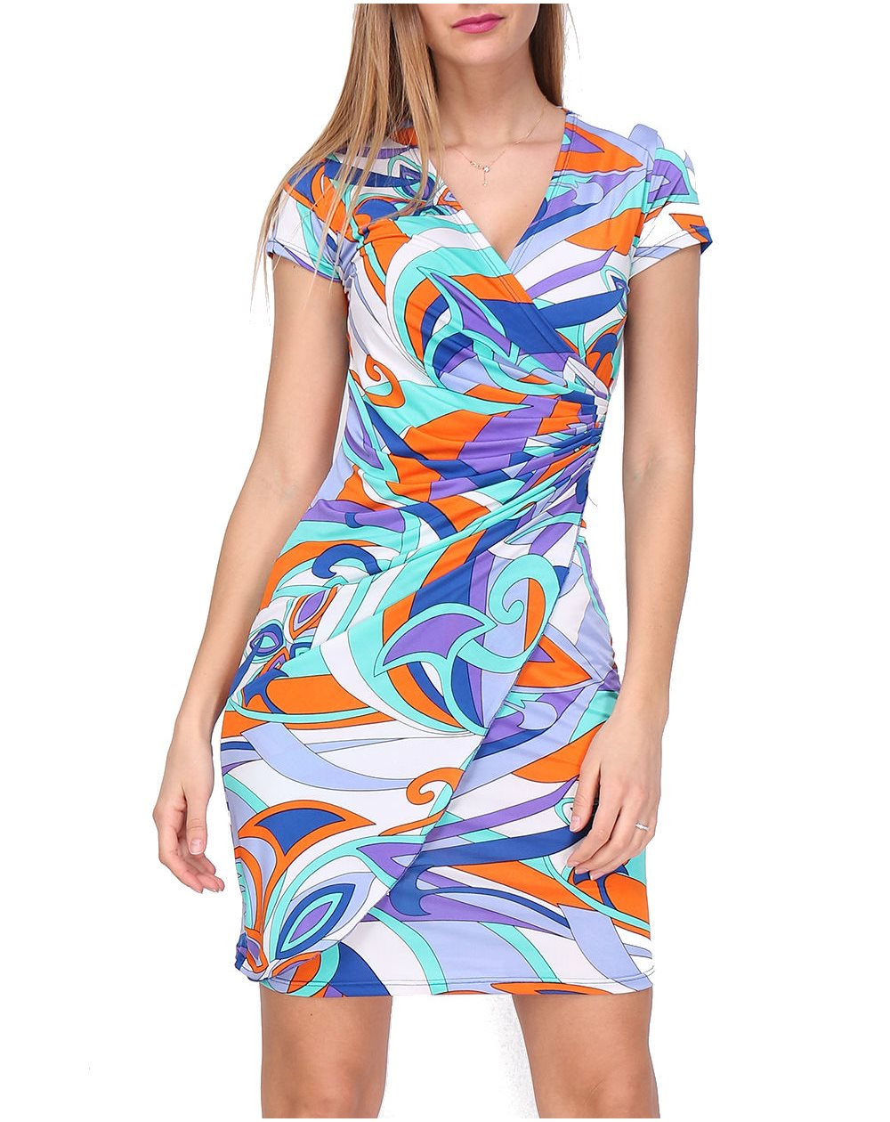 Revdelle - Robe Made in France cache coeur col V Violet manches courtes Femme Taille S M L XL CAMILLE