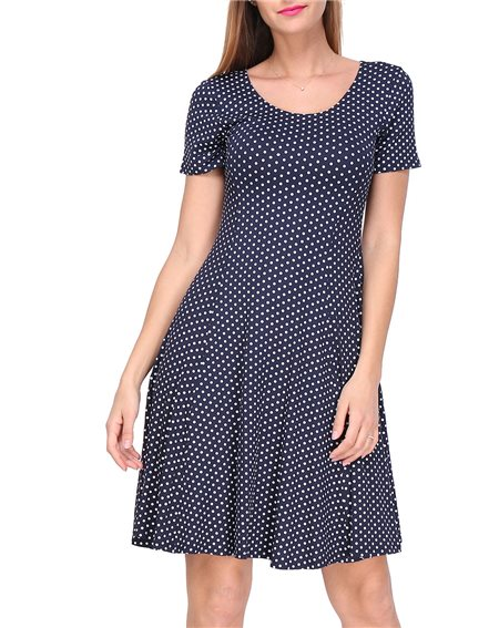 Revdelle - Robe Made In France Evasee Col Rond Manches Courtes a Pois Femme Taille S M L XL Barbara
