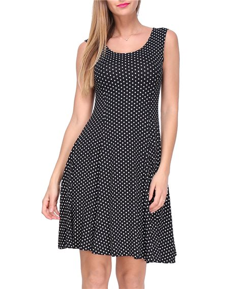 Revdelle - Robe Made In France Evasee Col Rond Sans Manches a Pois Femme Taille S M L XL Bleuet