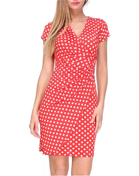 Revdelle - Robe Cache Coeur Col V a Pois Made In France Manches Courtes Femme Taille S M L XL Camille