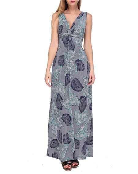 Revdelle - Robe Longue Made In France Col V Femme Imprimer Feuille Taille S M L XL Sara
