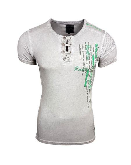 Subliminal Mode - Tee Shirt Homme Delave Col V Boutonné SB6784