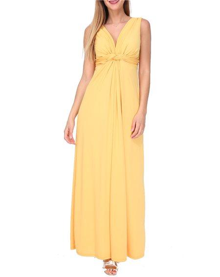 Revdelle - Robe Longue Made In France Col V Uni Femme Taille S M L XL Savane