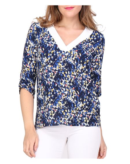 Revdelle - Blouse Col V Uni Made In France Manches Courtes A Pois Femme Murielle