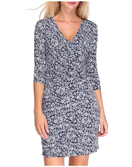 Revdelle - Robe Cache Coeur Col V Made In France Manches Longues Pour Femme Imprime Fleurs Myriam