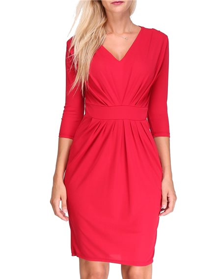 Revdelle - Robe Drapee Col V Uni Made In France Manches Longues Pour Femme Lory