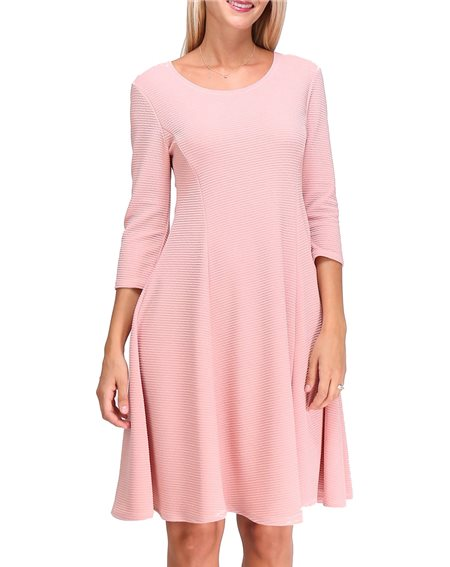 Revdelle - Robe Made In France Col Rond Evase Uni Manches Longues Pour Femme Yona