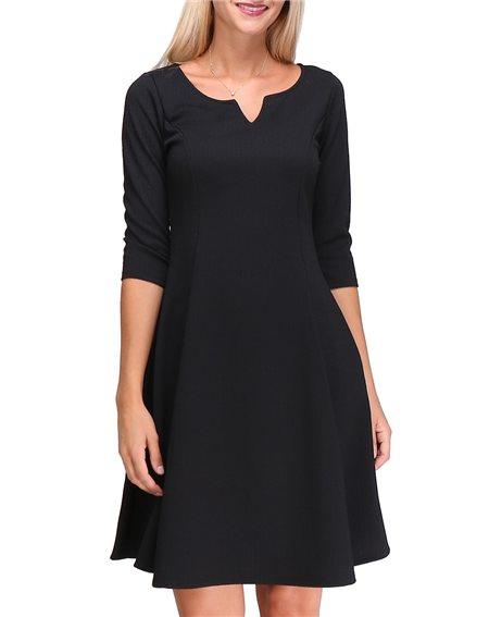 Revdelle - Robe Made In France Col V Evase Uni Manches Longues Pour Femme Adelle