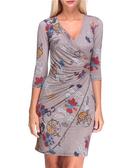 Revdelle - Robe Cache Coeur Col V Made In France Manches 3/4 Pour Femme Imprimer Fleurs Myriam