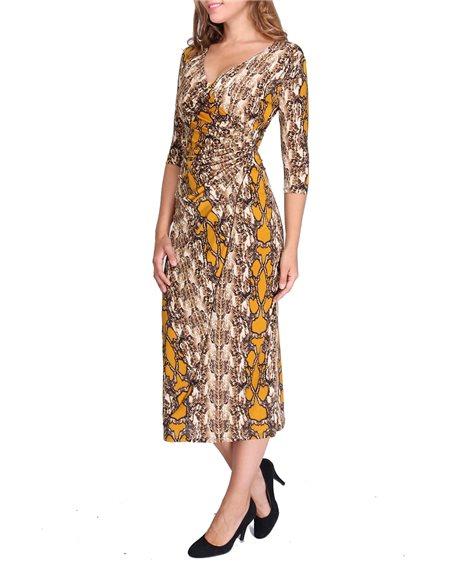 Revdelle - Robe Longues Cache Coeur Col V Made In France Manches 3/4 Femme Imprimer Serpent Velia