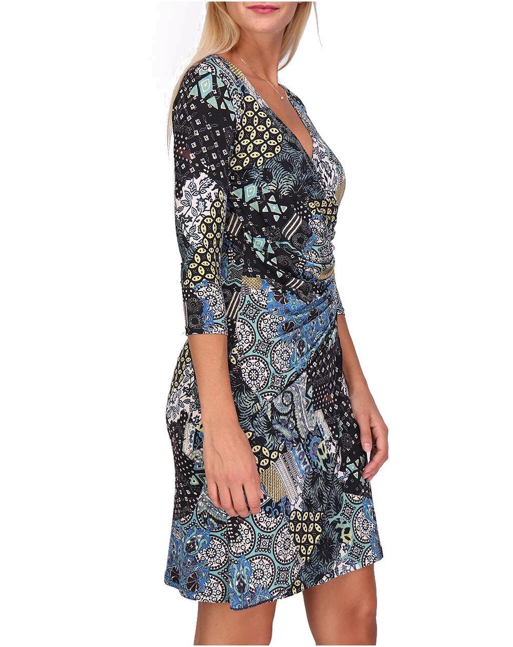 Robe Cache Coeur Col V Made in France Manches 3//4 pour Femme Imprimer Fleurs Myriam Revdelle