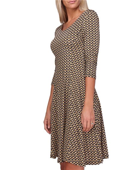 Revdelle - Robe Evasee Col Rond Made In France Manches 3/4  Femme Yona