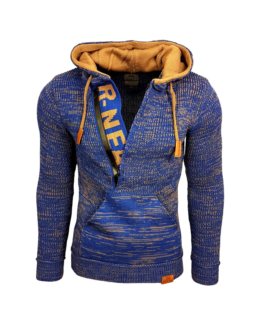 Rusty Neal - Pullover Homme a Capuche Avec Fermeture a Zip Pull Hiver Chiner Tricot Grosse Maille Cordon De Serrage 13277
