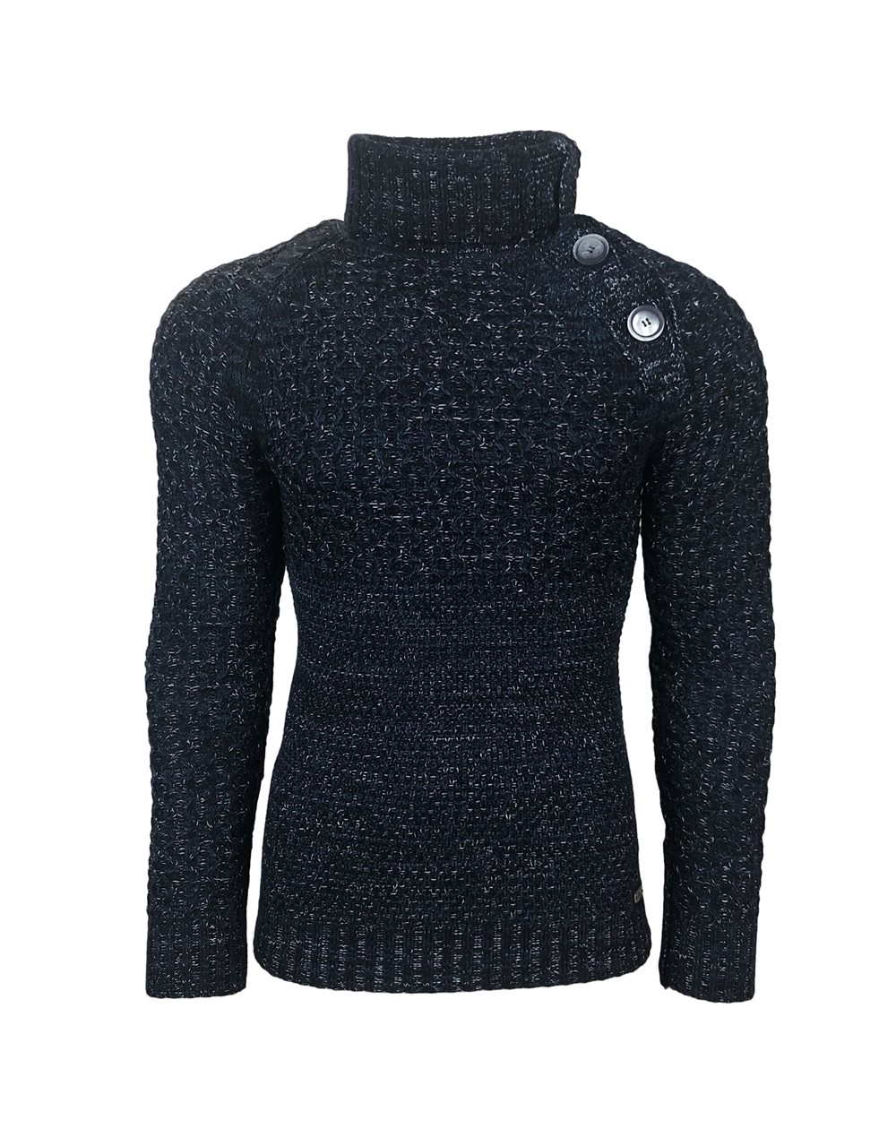 Rusty Neal - Pullover Homme Col Montant Boutonner a Pull Hiver Chiner Tricot Grosse Maille Gros Bouton 13338