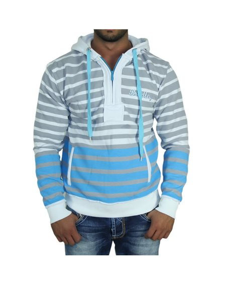 Subliminal Mode - Sweat shirt homme capuche avec col cordon de serrage RN9325