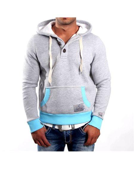Subliminal Mode - Sweat shirt homme capuche avec col cordon de serrage RN9323