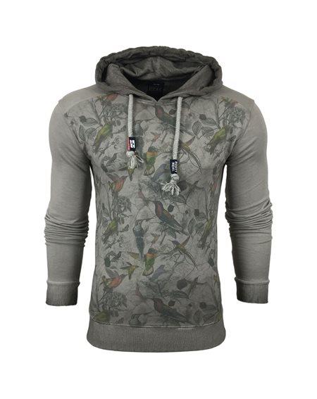 Subliminal Mode - Sweat shirt homme capuche delaver avec col cordon de serrage RN9601