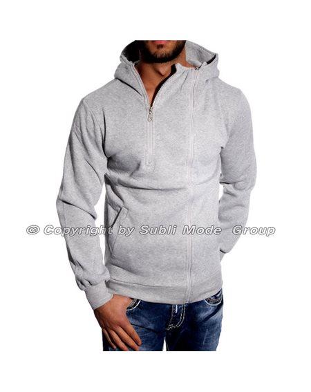 Subliminal Mode - Sweat shirt homme capuche uni avec col cordon de serrage V008