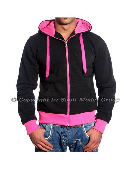 Subliminal Mode - Sweat shirt homme capuche bicolore uni avec col cordon de serrage V205