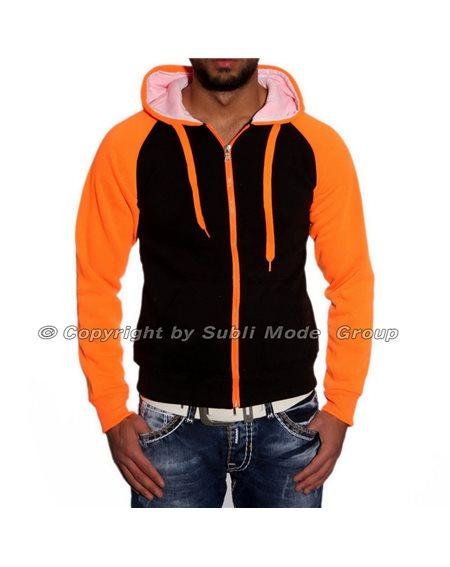 Subliminal Mode - Sweat shirt homme capuche bicolore uni avec col cordon de serrage V206