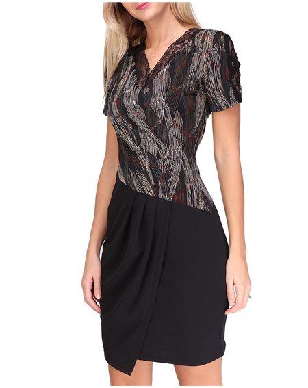 Revdelle - Robe Plisse Col V Made In France Manches Courtes Femme Imprimer Design Sarah