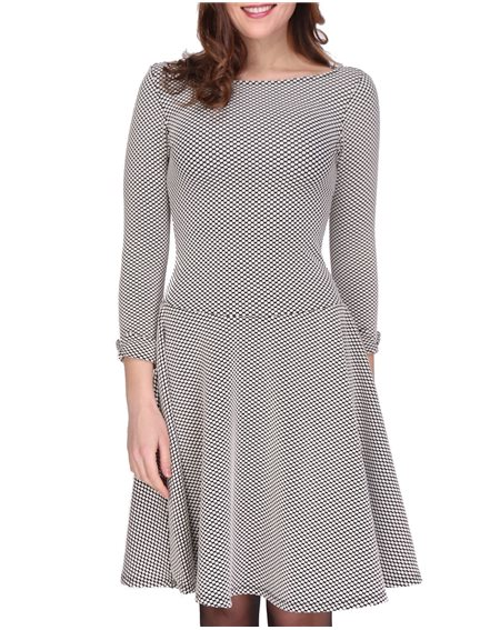 Revdelle - Robe Evasee Col Rond Made In France Manches 3/4  Femme Imprimer Uni Petula