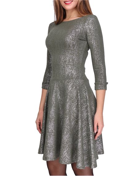 Revdelle - Robe Evasee Col Rond Made In France Manches 3/4  Femme Imprimer Uni Brillant Petula