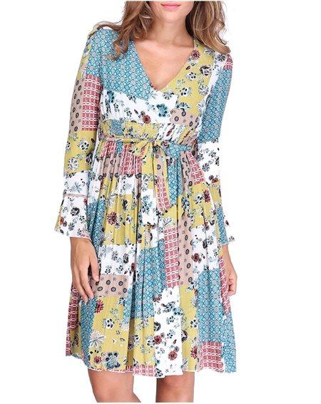 Revdelle - Robe Col V Avec Ceinture Made In France Manches Courtes Femme Imprimer Fleurs Arita