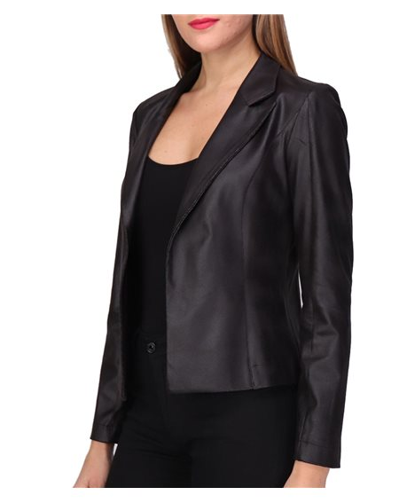 Revdelle - Made In France Veste Simili Cuir Courte Col Tailleur Manches Longues Femme Lili