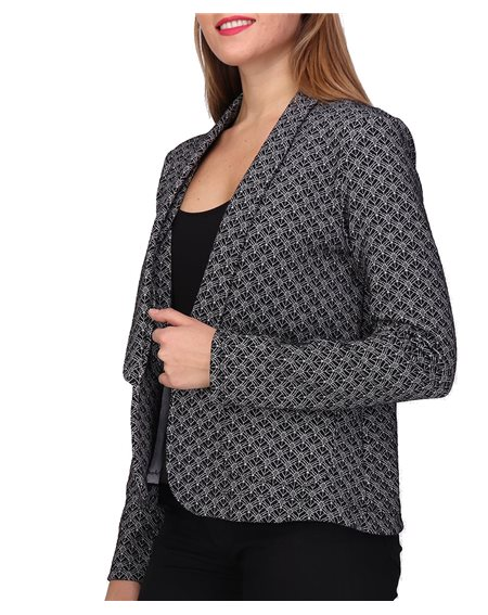 Revdelle - Made In France Veste Jacquard Courte Col Tailleur Manches Longues Femme Cosette