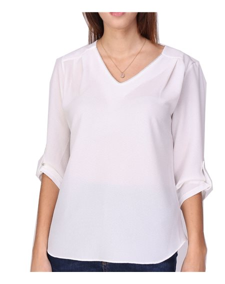 Revdelle - Blouse Chemisier Col V Uni Made In France Femme Chic et classe Orielle