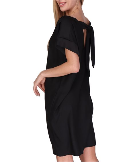 Revdelle - Robe Large Col V Avec Noeud Made In France Manches Courtes Femme Plaisir