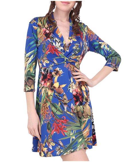 Revdelle - Robe Courtes Drape Col V Made In France Manches Courtes Femme Imprimer Fleurs Vendome