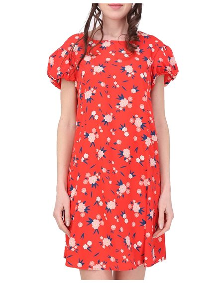 Revdelle - Robe trapeze Col Rond Made In France Manches Courtes Femme Imprime Fleurs Gala